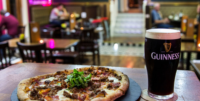 pizza and guinness at the talbot hotel
